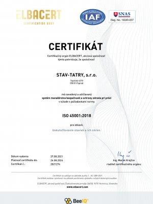 Certifikát 9001 45001 SK