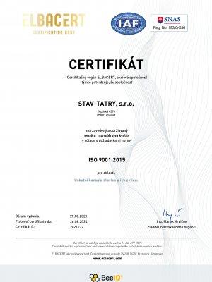 Certifikát 9001 2021 SK